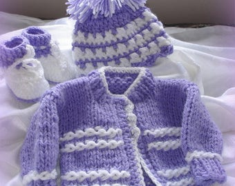 Hand knit baby  sweater;3 pcs.newborn, coming home outfit,,one of a kind, original design by kids kids1