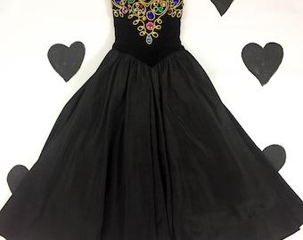 80's jeweled black velvet goth tulle prom dress 1980's strapless yolked sweetheart royal princess rainbow gem gold full skirted ball gown 4
