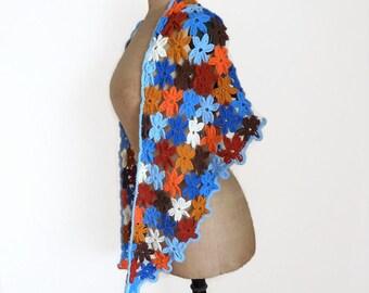 Crochet flower shawl crochet triangle scarf flower scarf triangular shawl crochet scarf triangle shawl crochet triangular scarf gift for her