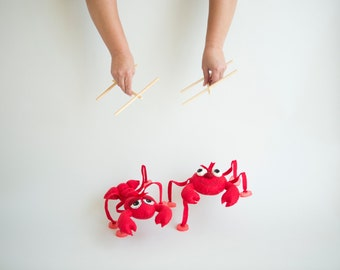 DIY Lobster and Sea Crab Marionette - Puppets on strings - Sewing PATTERN pdf -How to Make your own Sea Creatures marionettes  , felt puppet