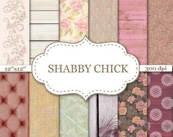 "SHABBY CHIC Vintage digital paper Rustic chic paper Rustic wood Capitonel Backdrop Floral Textures Printable Scrapbook Paper 12""x12"" #P138"