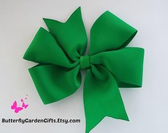 Green pinwheel hair bow clip