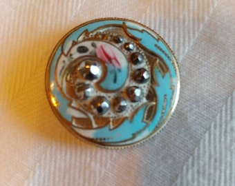 Antique Enamel Button Teal Blue pierced with Paisley designed in steel rivets-7/8 inch