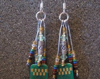 Multi colored resistor earrings with green crystals