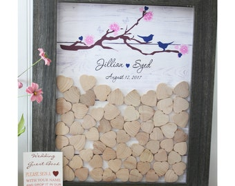 wedding guestbook drop box guest book frame heart frame Drop hearts box  Alternative Wedding guestbook  cherry blossom guestbook