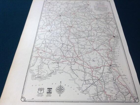 1929 Antique Early Rare Road Map of Georgia Atlanta