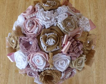 """Bouquet bridal fabric, burlap and lace style """"Bohemian"""""""