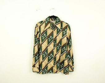 Vintage 1970s Allover Poly Print Stripe Mixed Print Button Down Shirt / Blouse / Di Vante / Small / Medium / Abstract / Horses / Gucci /