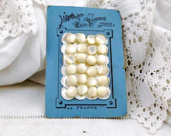 24 French Antique Unused Mother of Pearl / Nacre Glove / Bodice / Shank Buttons on Original Card from Paris, Vintage Haberdashery France
