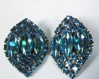 Vintage Aqua Blue Rhinestone Clip On Earrings,  Mid Century Ball, Perhaps?