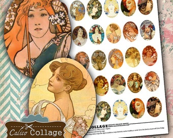 Mucha Digital Collage Sheet 30x40mm Ovals Images for Cameo Pendents Decoupage Paper Vintage Art Calico Collage Graphics Printables