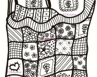 Bed Zentangle ~ Hand-drawn old fashioned quit