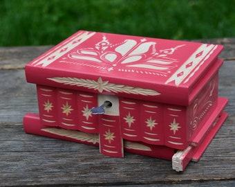 Pink Secret Box, Personalized gifts for girlfriend, Jewelry box for Girls, Pink gifts Wooden jewelry box  Locking box Secret stash box