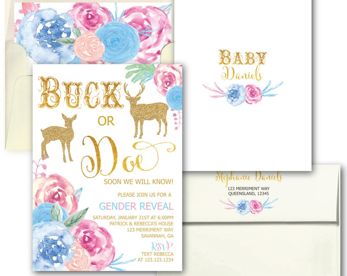 Gender Reveal Invitation // Buck or Doe // Gender Reveal Party // He or She // Boy or Girl // Gold // Floral // SAVANNAH COLLECTION