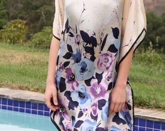 Floral Print Silk Blouse, Silk Tunic, Silk Dress