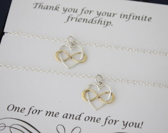 Friendship Infinity Necklace Gift Set, 2 Infinity Heart Necklaces, BFF, Set of two, Sterling Silver and Gold, Best Friend Gift, Sister Gift