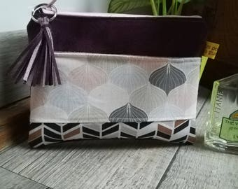 """""""Petals and herringbone"""" suede pouch"""