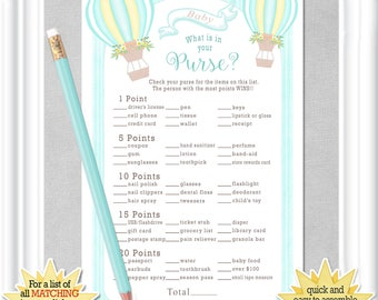 Instant Download WHAT is in YOUR PURSE? baby shower game in a whimsical style with aqua hot air balloons, diy Printable, 66BA