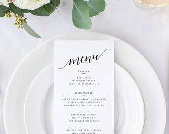 Wedding Menu Template, Wedding Menu Cards, Printable Wedding Menu, Printable Dinner Menu, Menu Wedding, Wedding Dinner Menu Template