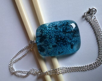 Fused glass pendant on 17 inch silver plate chain - blue bubbles