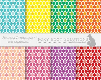 Teardrop Pattern Set 1: Digital Papers, set of 8