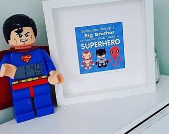 Boys Bedroom Superhero Big Brother Framed Print - Boys bedroom playroom