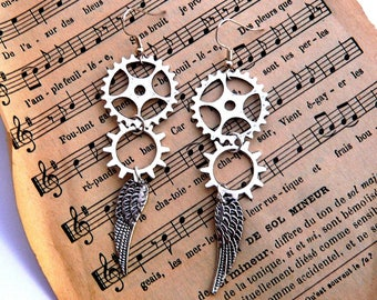 Silver steampunk gear and wing earrings