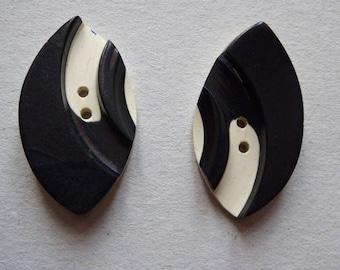 Knöpfe, 1935, vintage, 2 black-white buttons, bakelit, art deco, 1930