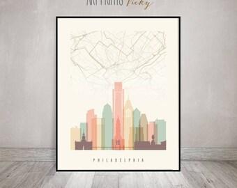 Philadelphia map, Philadelphia skyline art print, Poster, Wall art, City poster, Travel gift, Home Decor, ArtPrintsVicky