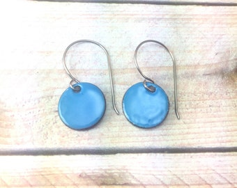 Calamine Blue Enamel Earrings, Bohemian earrings, Dangle Earrings, Mother's Day gift