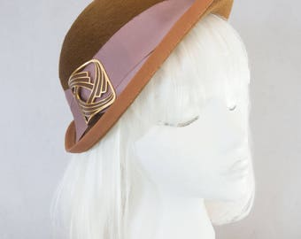 1930s Style Cloche. Brown Fur Felt Hat with Art Deco Buckle. Vintage Inspired Hat for Women. Asymmetrical Bronze Cloche. Ladies Millinery.