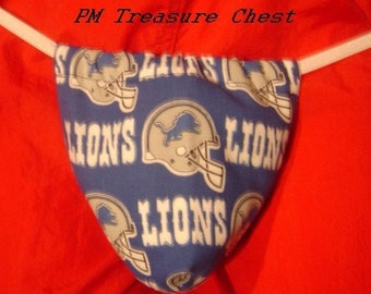Mens DETROIT LIONS G-String Thong Male Nfl Lingerie Football Underwear