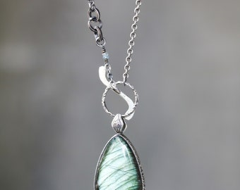 Large teardrop labradorite pendant necklace in silver bezel setting and square labradorite secondary with oxidized sterling silver chain