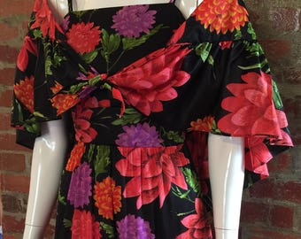 Vintage 60's 70's Red & Black Floral Vicky Vaughn Prom Dress with Matching Wrap- maxi, XXS, XS