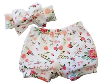 100 % Organic Cotton Baby Bloomers, Watercolor Flower Baby Bloomers, Modern Baby clothes