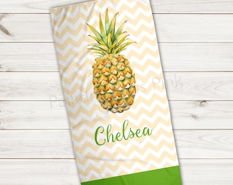 Beach Towel | Pineapple Watercolor Personalized | Extra Large 30x60 | Ultra-Soft Sheared Microfiber | Summer | Island Aloha | Chevron | Gift