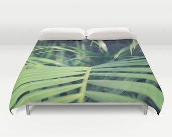 Tropical Palms Duvet Cover, Tropical Bedding,Tropical Palm Bedspread, Decorative, Jungle Bedding, Unique Design, Bedroom, Dorm, Hotel,nature