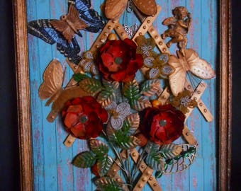 Florals & Butterflies on Trellis Found Objects Wall Art, Framed Junk Art