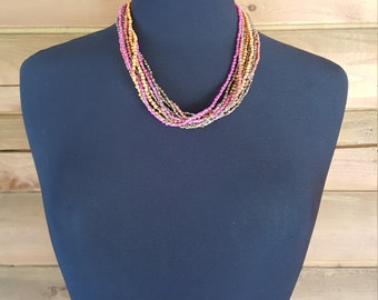Colorful beaded 10 strand necklace