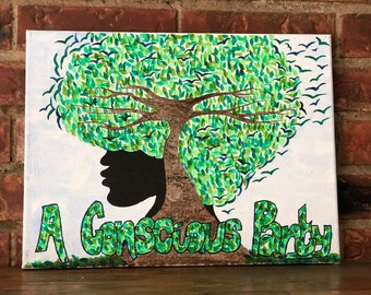 Free Your Mind ~ Original 'A Conscious Party' Afro Tree Canvas