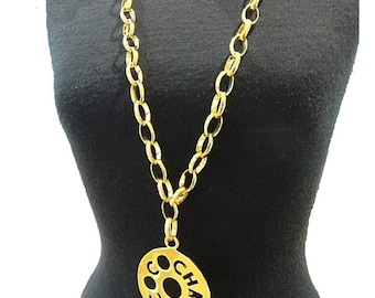 CHANEL Vintage XL CC Logo Disc Pendant 18k gold plated Long Chain Necklace