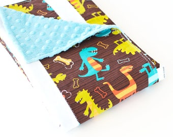 Baby Blanket, Small Patchwork with Minky for Baby Boy Dino Dudes (2)