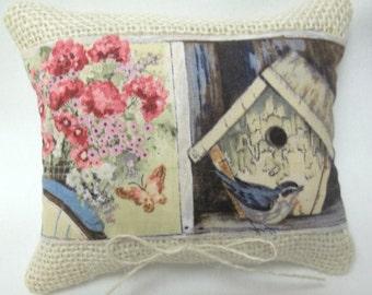 Garden Mini Pillow,  Bird, Flowers,  Butterfly, Birdhouse, Nature, Outdoor