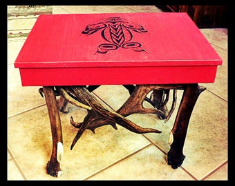 Table Footstool Antler Table  Antler Furniture  Deer Antler Furniture Antler Art Antler Decor Rustic Decor Rustic Furniture
