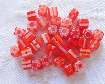34  Christmas Red & White Striped Cube Millefiori Flower Lampwork Glass Beads  5mm