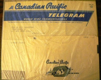 vintage ephemera  ... CANADIAN PACIFIC TELEGHRAPHS telegram 1956 ephemera no 4  ...