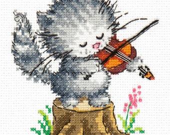 Cross Stitch Kit Young talent (cat)
