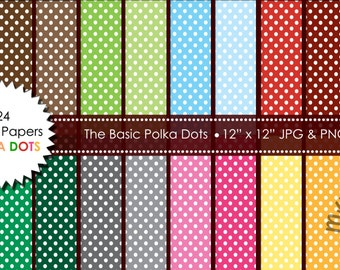 24 Digital Papers Polka Dots Patterned Backgrounds in jpeg/png format, for Personal and Small Commercial Use