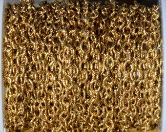 1 ft. Small Textured Cable Chain Antique Gold 5 x 4mm -  24k Plated Brass Nunn Designs Chain