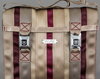 Messenger Bag-Tan/Red-red thread